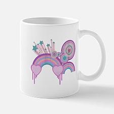 Rainbow Hearts Spirals Hippie Design Mug