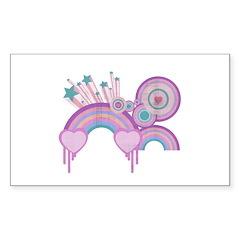 Rainbow Hearts Spirals Hippie Design Decal