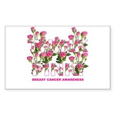 THINK PINK Roses Rectangle Decal