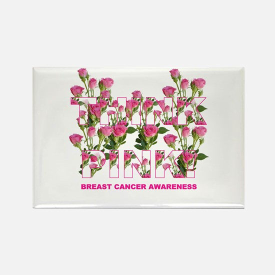 THINK PINK Roses Rectangle Magnet