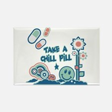 Chill Pill Retro Collage Design Rectangle Magnet