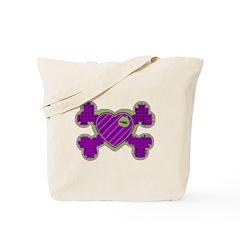 Green Lips Heart Crossbone Punk Tote Bag