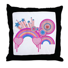 Retro Rainbow and Hearts Collage Throw Pillow