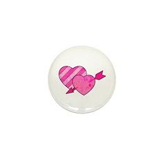 Urban Hearts and Arrow Design Mini Button (10 pack