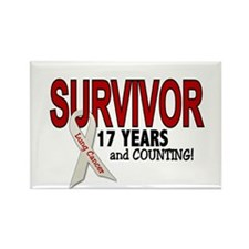 Lung Cancer Survivor 17 Years 1 Rectangle Magnet