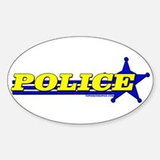 POLICE ~YELLOW-BLUE Oval Decal