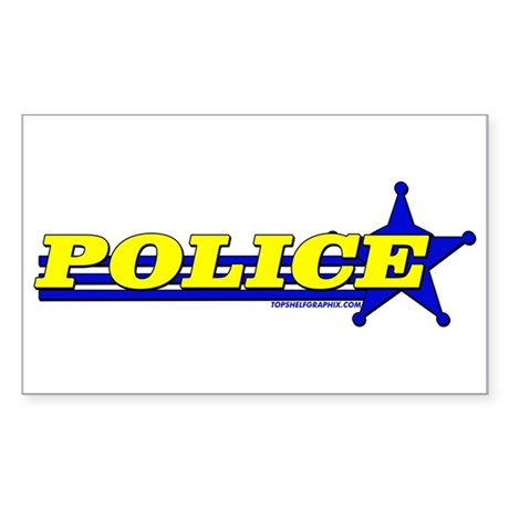 POLICE ~YELLOW-BLUE Rectangle Sticker