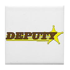 DEPUTY ~ BROWN-YELLOW Tile Coaster