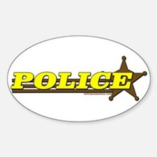 POLICE ~ YELLOW-BROWN Oval Decal