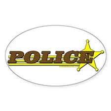 POLICE ~ BROWN-YELLOW Oval Decal