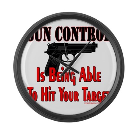 GUN CONTROL ~ HANDGUN Large Wall Clock