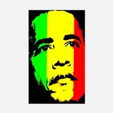 Obama Green Gold Red Face Rectangle Decal