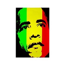 Obama Green Gold Red Face Rectangle Magnet