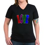 LOVE & Friendship Women's V-Neck Dark T-Shirt