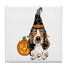 Halloween Pumkin Basset Tile Coaster