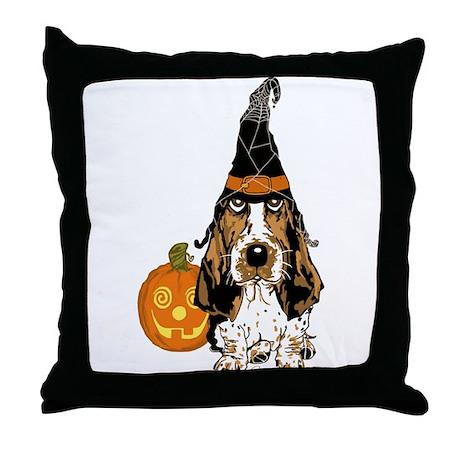 Halloween Pumkin Basset Throw Pillow