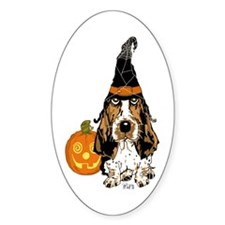 Halloween Pumkin Basset Oval Stickers