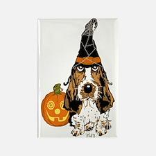 Halloween Pumkin Basset Rectangle Magnet