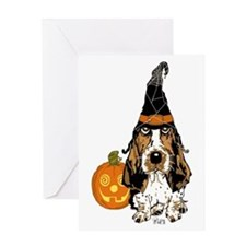 Halloween Pumkin Basset Greeting Card