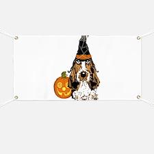Halloween Pumkin Basset Banner