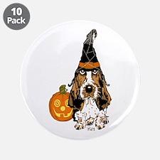 "Halloween Pumkin Basset 3.5"" Button (10 pack)"