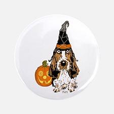 """Halloween Pumkin Basset 3.5"""" Button"""