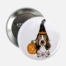 """Halloween Pumkin Basset 2.25"""" Button (100 pac"""