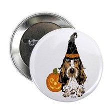 """Halloween Pumkin Basset 2.25"""" Button"""