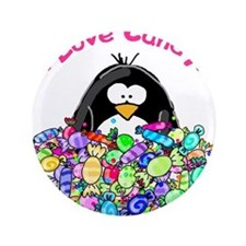 "I Love Candy Penguin 3.5"" Button"