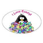 I Love Candy Penguin Oval Sticker