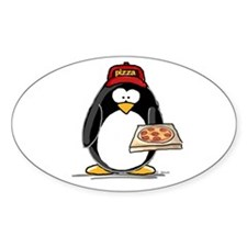 Pizza Penguin Oval Decal