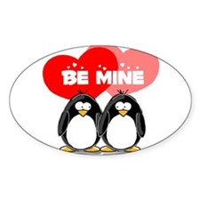 Be Mine Penguins Oval Decal