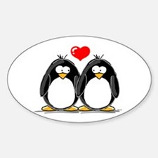 Love Penguins Oval Decal