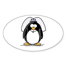 Bride penguin Oval Decal