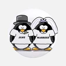 """Just Married Bride and Groom 3.5"""" Button"""