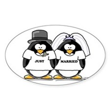 Just Married Bride and Groom Oval Decal