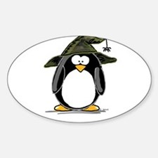 Witch penguin Oval Decal