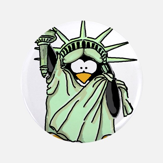 "Statue of Liberty Penguin 3.5"" Button"