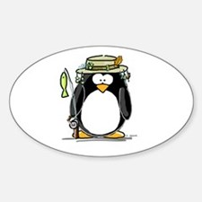 Fishing penguin Oval Decal