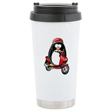 Red Scooter Penguin Travel Coffee Mug