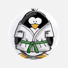"""Martial Arts green belt pengu 3.5"""" Button"""