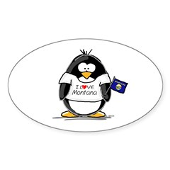 Montana Penguin Oval Decal
