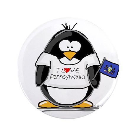 """Pennsylvania Penguin 3.5"""" Button"""