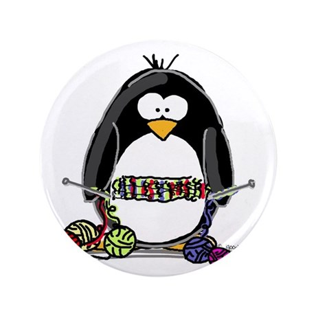 "Knitting Penguin 3.5"" Button"