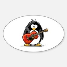 Red Acoustic Guitar Penguin Oval Bumper Stickers