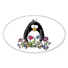 Garden penguin Oval Bumper Stickers