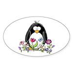 Garden penguin Oval Sticker
