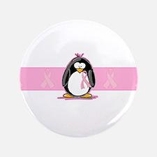 "Pink Ribbon Penguin 3.5"" Button"