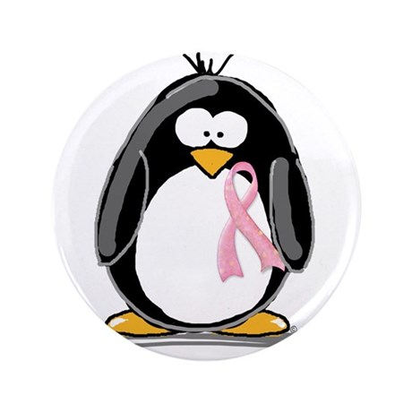 "Breast Cancer penguin 3.5"" Button"