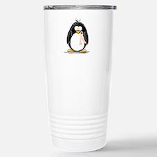 Peach Ribbon Penguins Stainless Steel Travel Mug